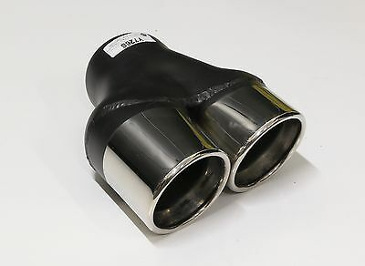 """Brand New 3"""" Twin Outlet Rolled In Angle Cut Stainless Steel Exhaust Tip Y Pipe"""