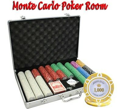 650pcs 14G MONTE CARLO POKER ROOM CASINO POKER CHIPS SET with ALUMINUM CASE