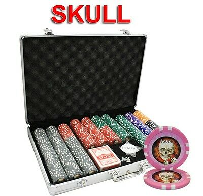 650pcs SKULL CASINO CLAY POKER CHIPS SET with ALUMINUM CASE CUSTOM BUILD