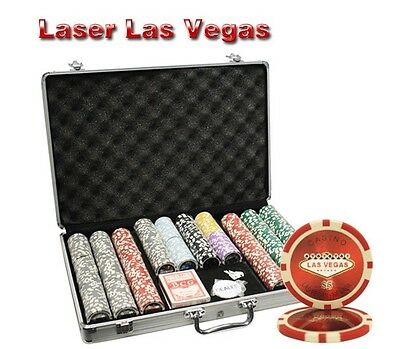 650pcs 14G LAS VEGAS LASER CASINO POKER CHIPS SET with ALUMINUM CASE
