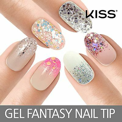 KISS  Gel Fantasy Artificial Nail Tips - Manicure, Glitter, Oval