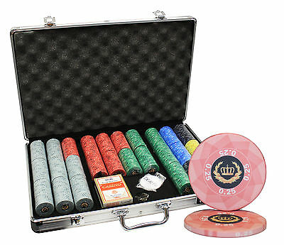 650 Laurel Crown Ceramic Poker Chips Set Aluminum Case Custom Build