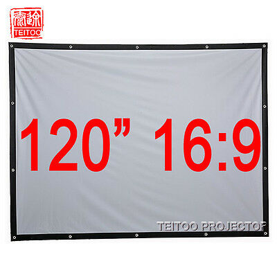 """120"""" 16:9 White Portable Projection Screen Curtains Film for HD Projector Beamer"""