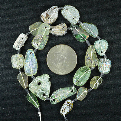 Ancient Roman Glass Beads 1 Medium Strand Aqua And Green 100 -200 Bc 500