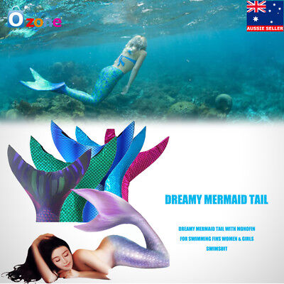 Dream Swimmable Mermaid Tail with Monofin Swimming fins women Girls Swimsuit NEW