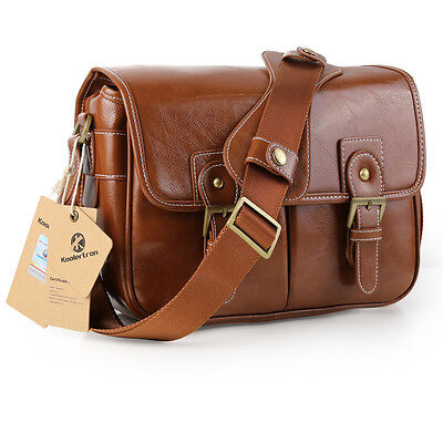 Koolertron Waterproof Vintage PU Leather DSLR Camera Bag Lens Case Shoulder Bag
