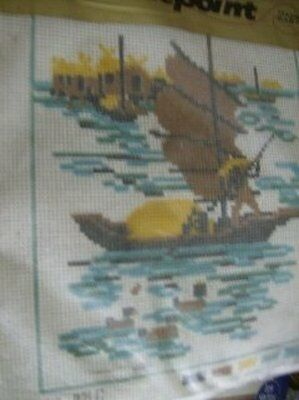 Oriental Boat On The Water Needlepoint Kit 8 x 10 Inches
