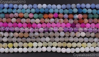Colorful Matte Fire Crackle Agate Gemstones Round Beads 4mm 6mm 8mm 10mm 15""