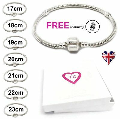 925 Silver Plated Snake Charm Bracelets For European Charms Beads 17cm - 23cm