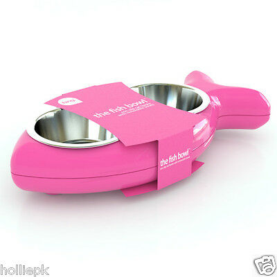 Hing Modern Cat Kitten Double Food Water Bowls Dishes Pink Fish Non Slip Feeding