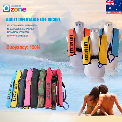Adult Manual/ Automatic Inflatable Life Jacket 150N Buoyancy Aid Sailing Boating