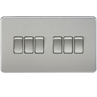 Knightsbridge SF4200BC - 10A 6G 2 Way Screwless Wall Switch in Brushed Chrome