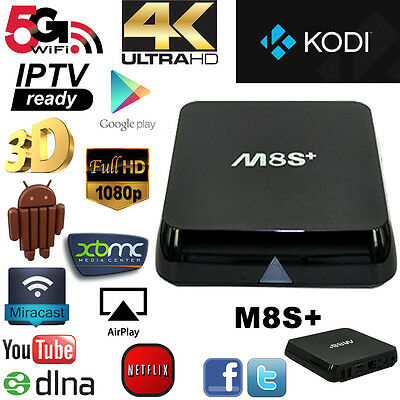 New M8S+ Plus Fully Loaded KODI XBMC Quad Core Android 5.1 Smart TV BOX 8G Hot