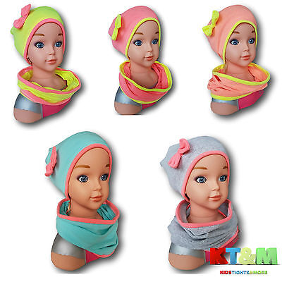 Girl Toddler Kids Spring Hat and Scarf Set Cotton Stretchy Bright Size 1-2years