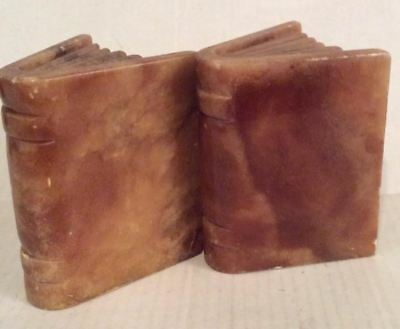 """Vintage Marbled Bookends Pair Rock Heavy Novel Shaped 5.75""""x4.5"""" Tan Brown"""