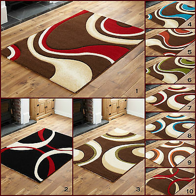 Medium Modern Small Swirl Red Black Multicolour Curl Carved Clearance Area Rugs
