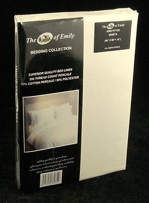 """15"""" Extra Deep Fitted Sheet King Size Cream 200 TC Poly Cotton Percale"""