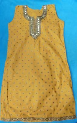 New 12 L Kameex Indian Pakistani ochre yellow Asian beaded tunic top NWOT 12 14