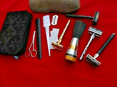 Butterfly Double Edge Safety Razor Shave W/ 10 Blades,Combs,Safety Scissors+..
