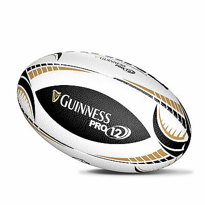 Guinness Pro 12 Midi Rhino Rugby Ball, White With Black And Gold Trim