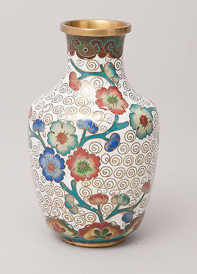 Chinese White Swirl Ground Cloisonne Vase With Tree Blossom Design