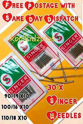 30 x SINGER DOMESTIC SEWING MACHINE NEEDLES> SIZE 14,16 & 18>10 OF EACH>VINTAGE