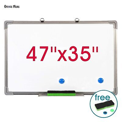 "47""x35"" Single Side Magnetic Dry Erase Board Writing Whiteboard with Eraser"