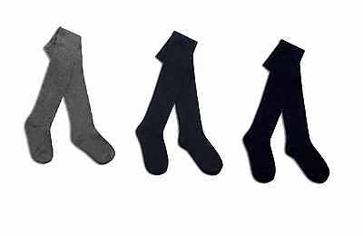 Girls Cotton Rich School Tights Winter Warm Thick Age 3 -13 Yrs Black Grey New
