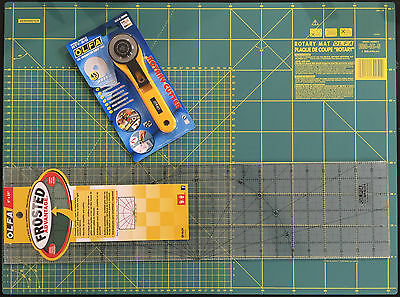 Olfa Set Cutting Mat 24'' X 18' + Rotary Cutter Rty-2/g & Frosted Ruler 6''x24''
