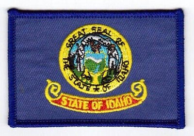 Idaho Usa State Square Flag Embroidered Iron-On Patch Crest Badge