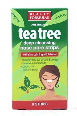 Beauty Formulas Tea Tree Deep Cleansing Nose Pore Strips - Boxed - 6 Strips