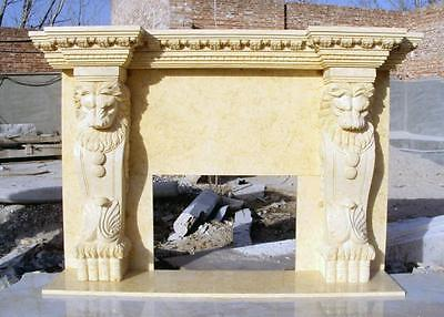 Hand Carved Marble Fireplace Mantel, Lion Design #3835
