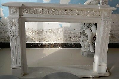 Hand carved Marble French Fireplace Mantel,White with Rosette Carvings #6244