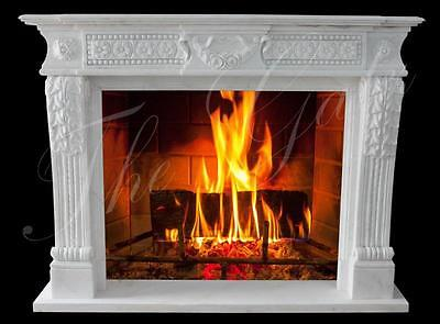 Classic Traditional White Marble Fireplace Mantel #3796