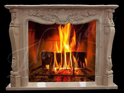 French Design Marble Fireplace Mantel with Traditional Floral Carvings