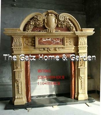 Impressive Heavily Carved Two Tone Marble Fireplace Mantel