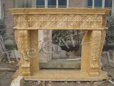 "Attractive, Heavily Carved Marble Fireplace Mantel in Beige, 94"" Wide"