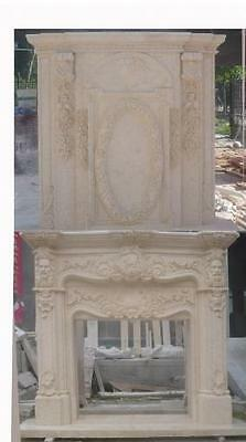 Marble Fireplace Mantel with Carved Wreath and Faces, Large Overmantel, French