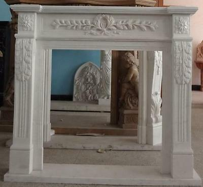 Hand Carved Marble Fireplace Mantel, Traditional design, Simple & Elegant