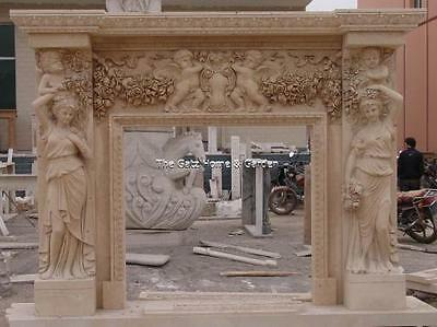 Over the Top Marble Fireplace Mantel with Cherubs, Florals & Women, Large