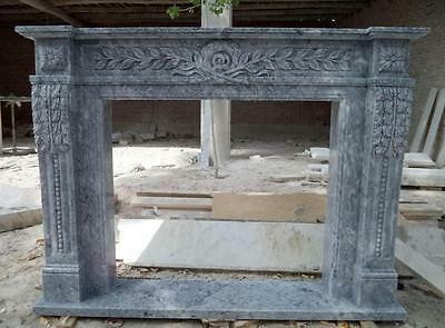 Hand Carved Classic Fireplace Mantel in Gray Marble