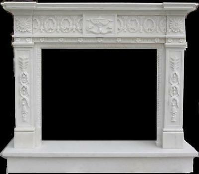 Heavily Carved Marble Fireplace Mantel, Greek Design