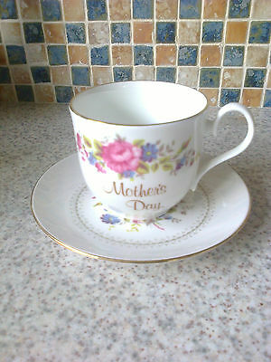 Royal Sutherland China Cup & Saucer Pink Flower & Floral Bouquet Mother`s Day