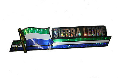 SIERRA LEONE LONG COUNTRY FLAG  METALLIC BUMPER STICKER DECAL ..11.75 X 3 INCH