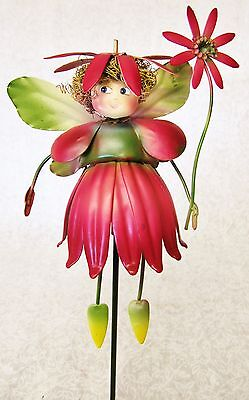 Whimsical Colorful 3D Metal Garden Stake ~ Red Fuchsia Flower Petal Dress Fairy