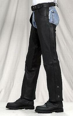 NEW Comfort Black Buffalo Leather Motorcycle Zip out Insulated Chaps lining $149