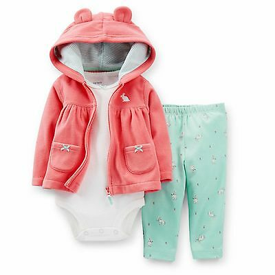 Carter's Baby Girl 3Pc Cardigan Bodysuit Pant Set 3 6 9 12 18 24M Clothes Outfit