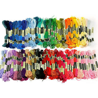 100x Different Colors Cross Stitch Cotton Embroidery Thread Floss Sewing Skeins