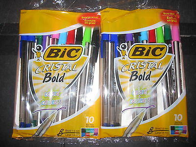 Bic Cristal Bold Colors 2-10 pack assorted color ball point style pens