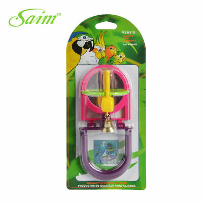 Bird Toy Mirror & Bell Budgie Canary Finch Cockatiel Parakeet Activity Play Toy